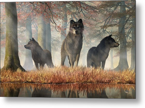 Metal Print featuring the digital art The Wolves Of Autumn by Daniel Eskridge