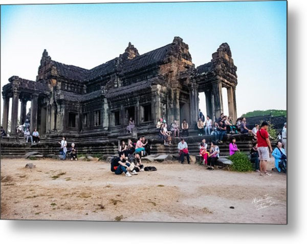 They Come To See Angkor Wat, Cambodia Metal Print