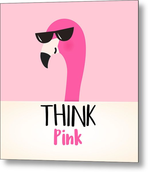 Think Pink - Baby Room Nursery Art Poster Print Metal Print