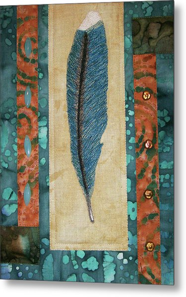 Threaded Feather Metal Print