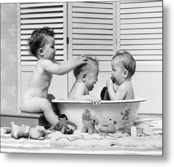 Three Babies In Wash Tub, Bathing Metal Print by H. Armstrong Roberts