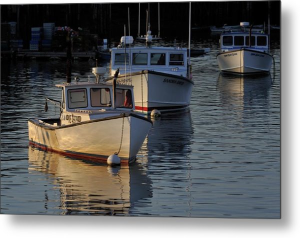 Three Boats In Maine Metal Print