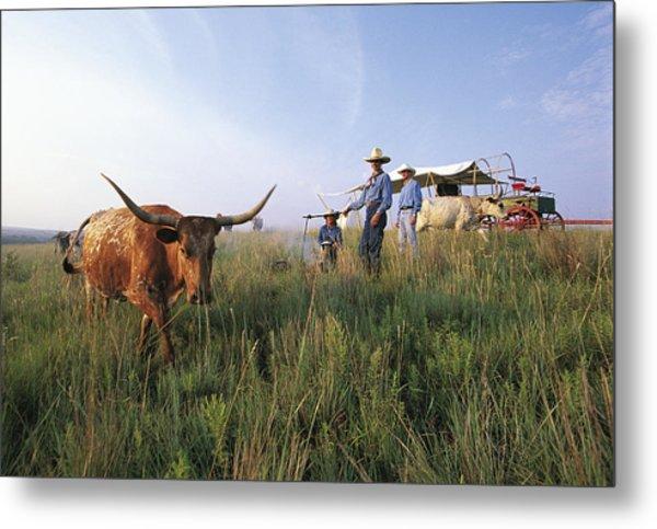 Three Cowboys Standing By Texas Metal Print by Sylvain Grandadam