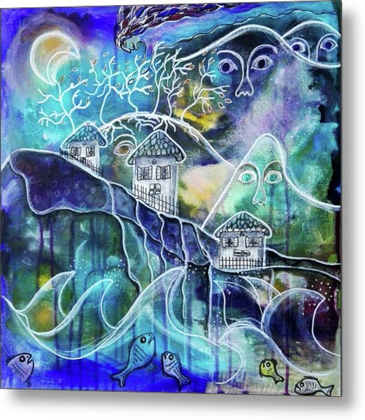 Three Houses On A Cliff Metal Print