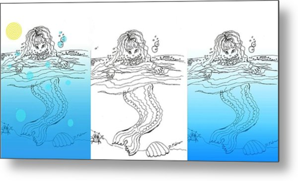 Three Mermaids All In A Row Metal Print