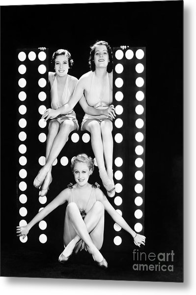 Three Young Women Posing With The Metal Print
