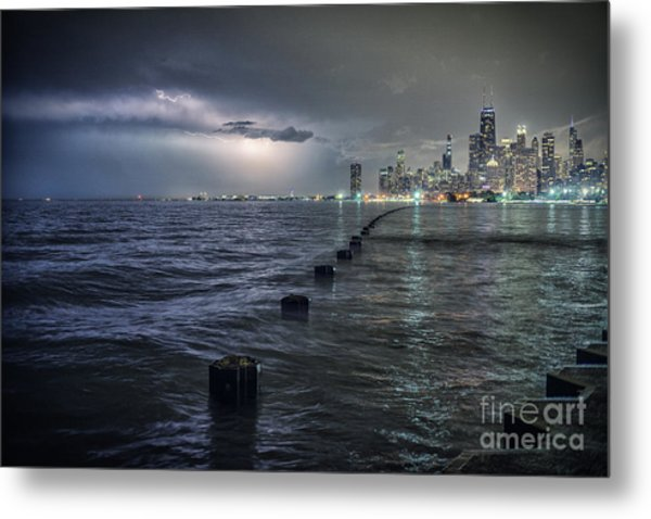 Thunder And Lightning In The Dark City Metal Print