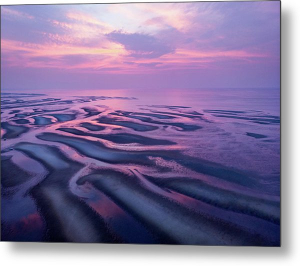 Tidal Flats Sunset Metal Print