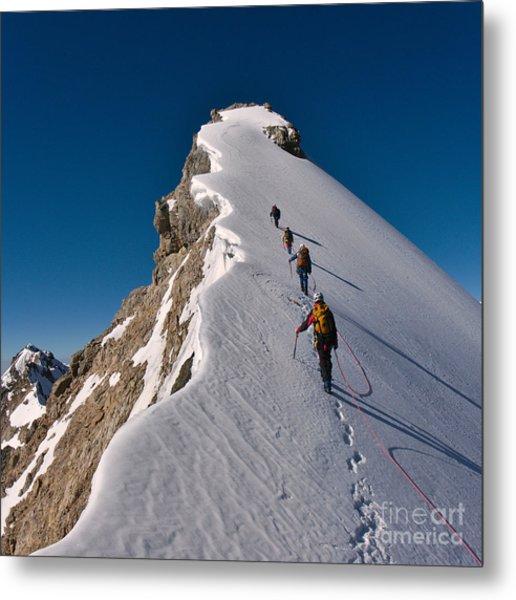 Tied Climbers Climbing Mountain With Metal Print by Taras Kushnir