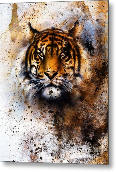 Tiger Collage On Color Abstract Metal Print