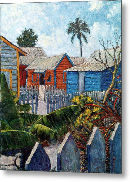 Tin Roofs And Clapboard Metal Print