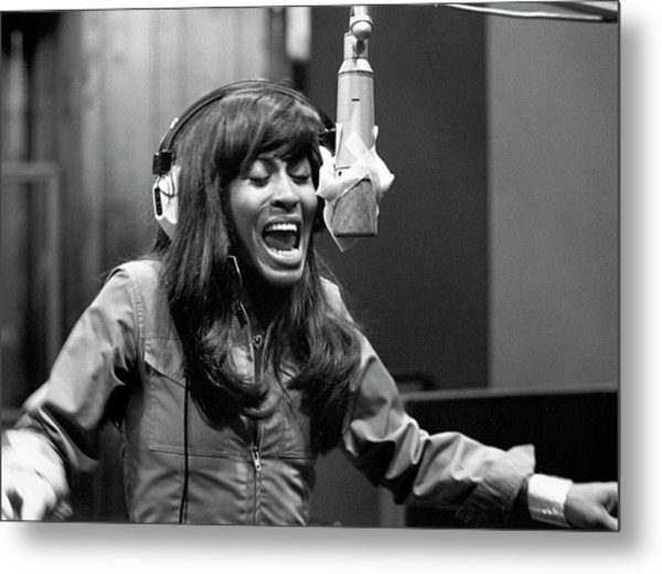Tina Turner Recording Session Metal Print by Michael Ochs Archives