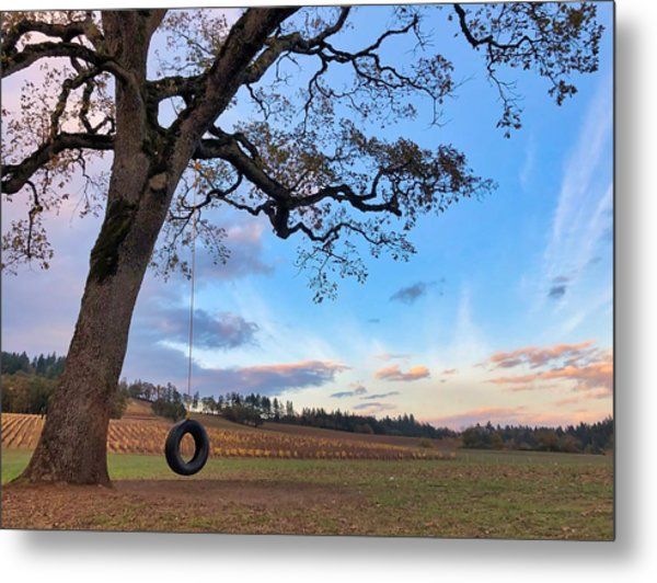 Tire Swing Tree Metal Print