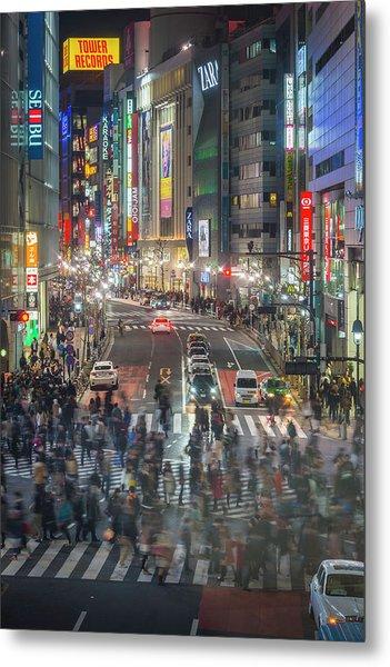 Tokyo Shibuya Crossing Crowds Of People Metal Print by Fotovoyager