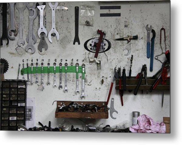 Tools In A Workshop Metal Print by Greg Burke