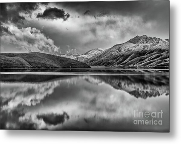Topaz Lake Winter Reflection, Black And White Metal Print