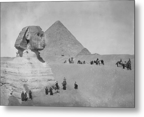 Tourists At Giza Metal Print by Topical Press Agency