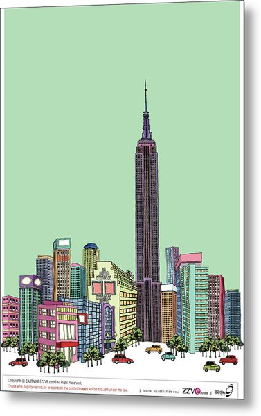 Tower With Buildings Against Clear Sky Metal Print by Eastnine Inc.