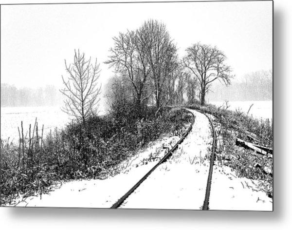 Tracks In Snow Metal Print