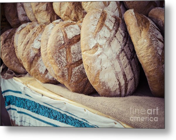 Traditional Bread In Polish Food Market Metal Print