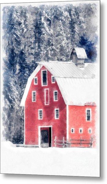 Traditional Red Barn Croydon New Hampshire Winter Watercolor Metal Print