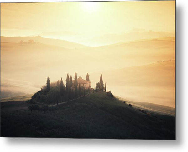 Traditional Tuscan Farmhouse At Sunrise Metal Print by Borchee