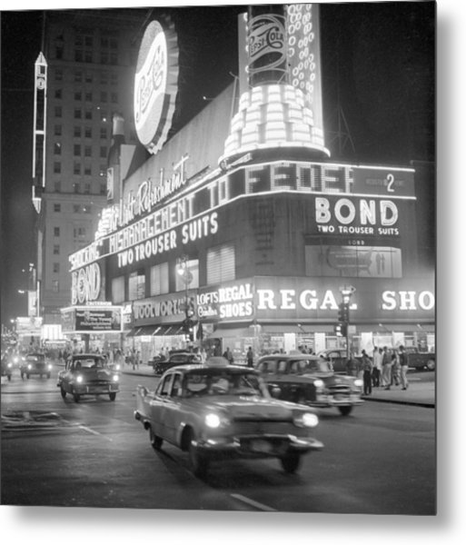 Traffic And Stores In Times Square Metal Print by Bettmann