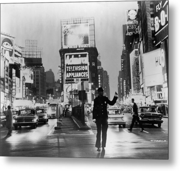 Traffic In Times Square Metal Print by Fpg