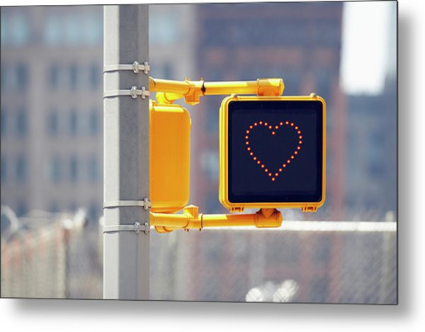 Traffic Sign With Heart Shape Metal Print
