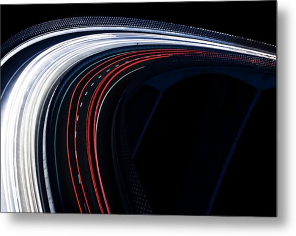 Trails For A Traffic Light On A Black Metal Print by Gaspr13