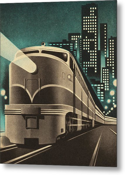 Train Leaving City Metal Print