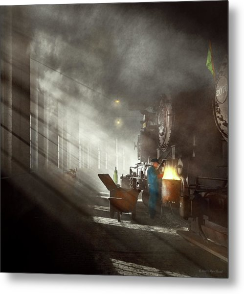 Metal Print featuring the photograph Train - Repair - Smoking Section 1942 by Mike Savad