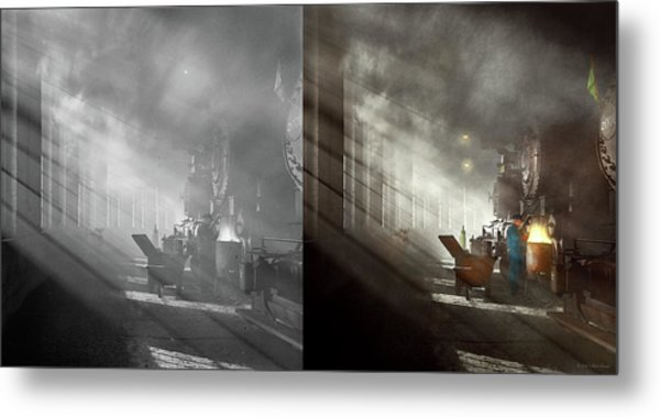 Metal Print featuring the photograph Train - Repair - Smoking Section 1942 - Side By Side by Mike Savad
