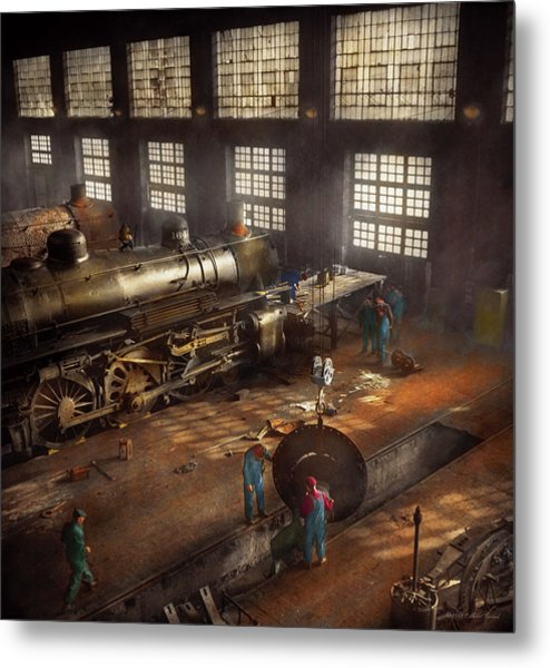 Metal Print featuring the photograph Train - Repair - Third Door On The Right 1942 by Mike Savad