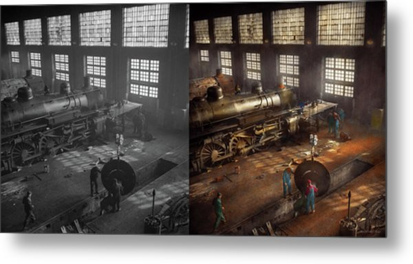 Metal Print featuring the photograph Train - Repair - Third Door On The Right 1942 - Side By Side by Mike Savad