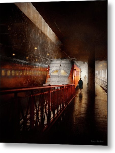 Metal Print featuring the photograph Train - Retro - Last Train Of The Day 1943 by Mike Savad