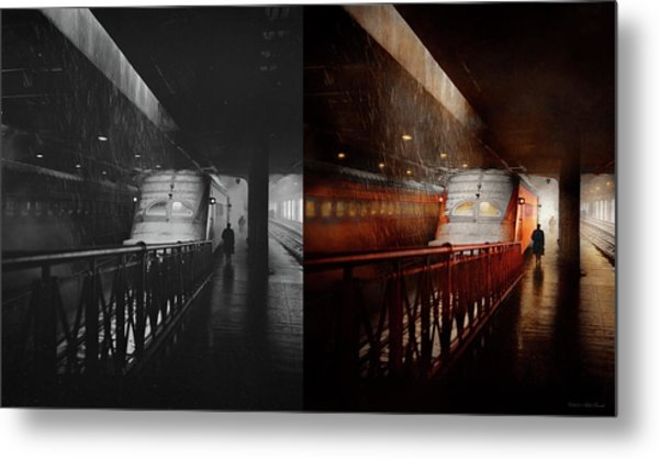 Metal Print featuring the photograph Train - Retro - Last Train Of The Day 1943 - Side By Side by Mike Savad