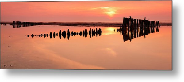 Tranquil Coastal Sunrise With Old Metal Print by Avtg