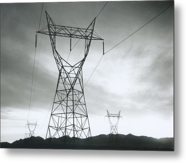 Transmission Lines In Mojave Desert Metal Print by Archive Photos