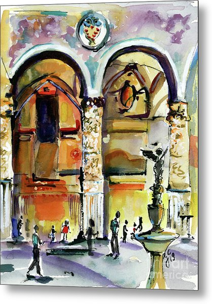 Metal Print featuring the painting Travel Italy Florence Impressions by Ginette Callaway