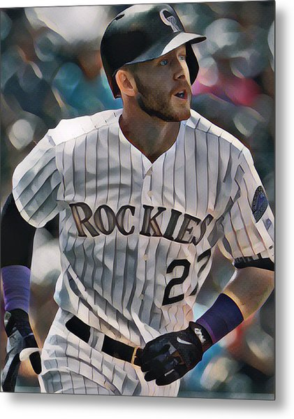 Trevor Story Colorado Rockies Abstract Art 1 Metal Print