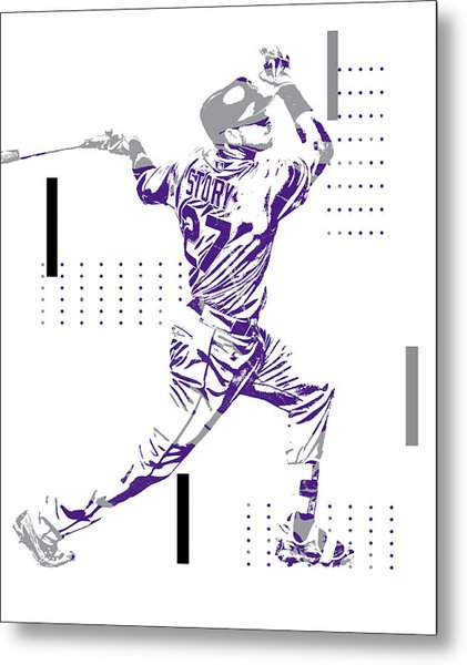 Trevor Story Colorado Rockies Pixel Art 12 Metal Print