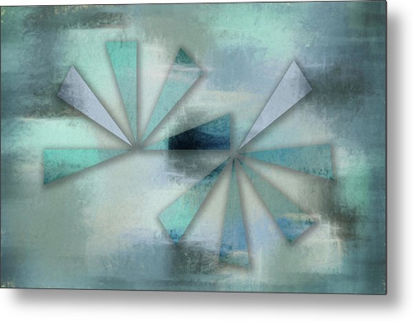 Triangles On Blue Grey Backdrop Metal Print