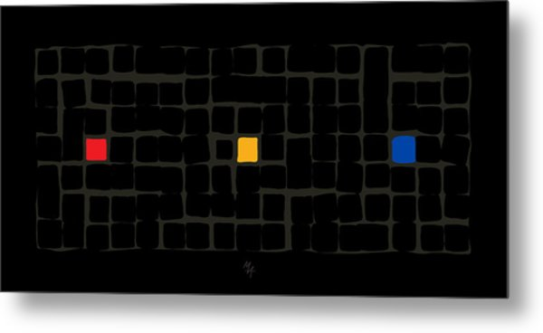 Metal Print featuring the digital art Tricolor In Black by Attila Meszlenyi