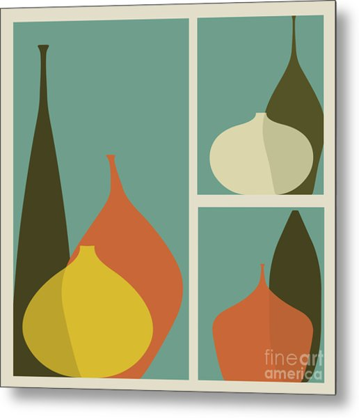 Triptych Of Vases Metal Print