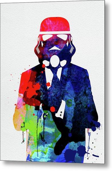 Trooper In Suite Watercolor Metal Print