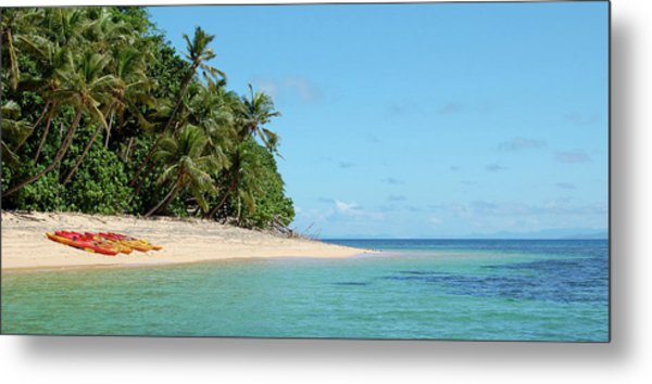 Tropical Beach Island Kayaking Metal Print by Opulent-images