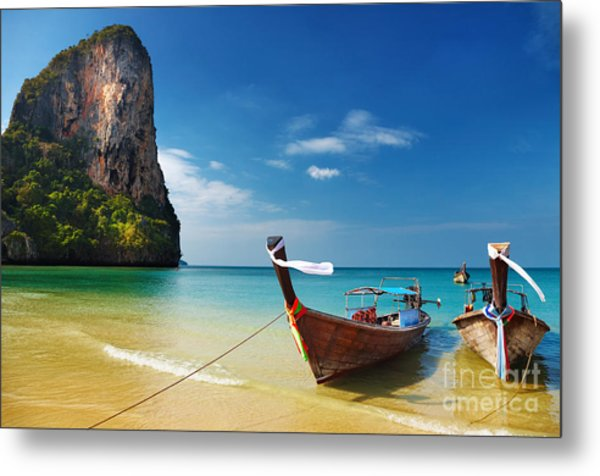 Tropical Beach, Traditional Long Tail Metal Print