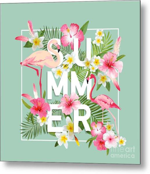 Tropical Flowers Background. Summer Metal Print