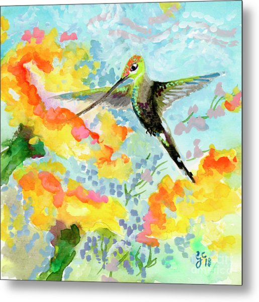 Metal Print featuring the painting Tropical Hummingbird by Ginette Callaway